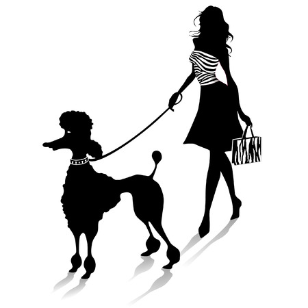 dog walking: poodle and female