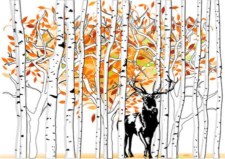 deer at deep forest Vector