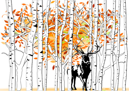 deer at deep forest Vector