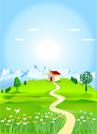 mountain meadows Stock Vector - 8268279
