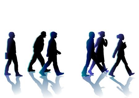 grande e piccolo: persone che camminano Vettoriali