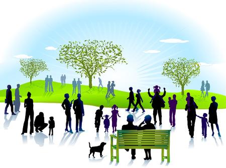 �ltere menschen: Park-Pfad  Illustration
