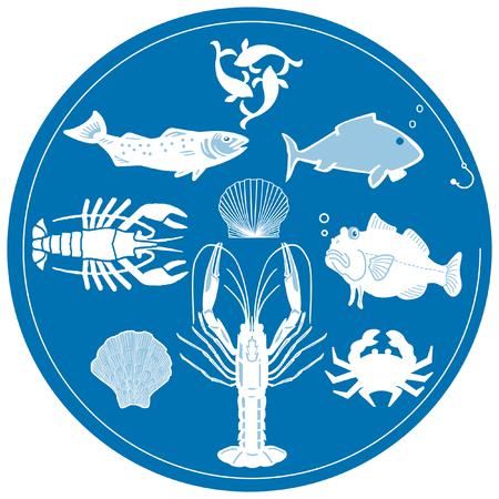 spiny lobster: seafood on blue Illustration