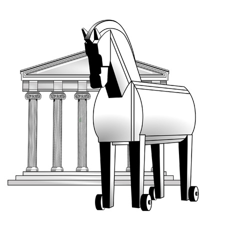 trojan horse: trojan horse and acropolis Illustration
