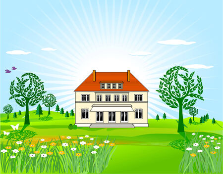 homely: country house Illustration