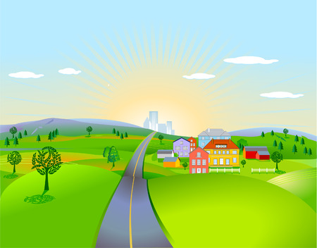 pleasing landscape with houses Stock Vector - 8427455