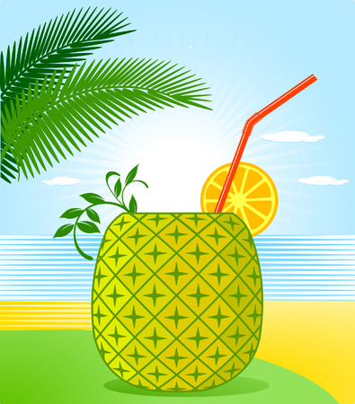 Tropical Pineapple Cocktail Illustration