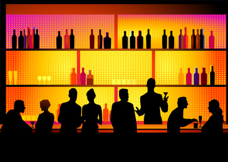 nightclub bar: Bar with barkeeper