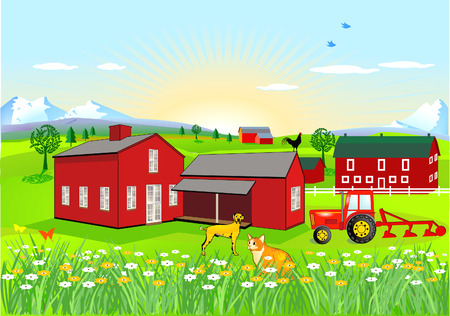 Farm with Dog and Cat Vector