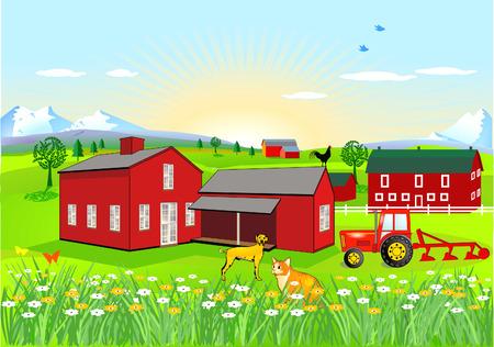 granero: Granja con perro y gato