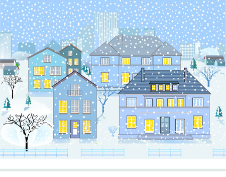 Winter Landscape in Neighborhood Stock Vector - 8444468