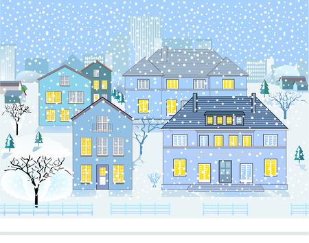 Winter Landscape in Neighborhood Stock Vector - 8444468