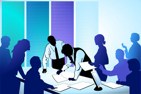 discussing: business people working together Illustration