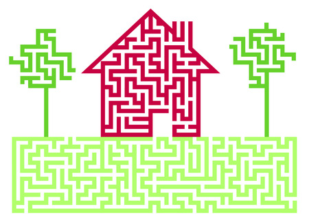Residential House Labyrinth Stock Vector - 8444465
