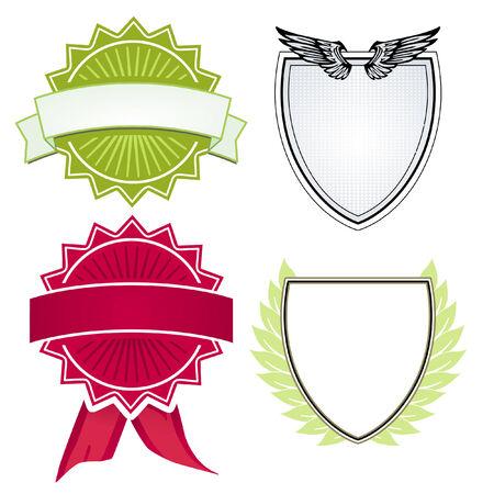 signet: Varios escudos y crestas Vectores