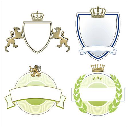 royal: Heraldic crown, lions & shields