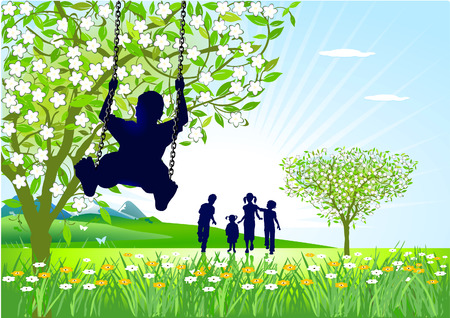 springtime on the swings Stock Vector - 8593829