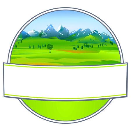 signet: Label with pleasing landscape Illustration