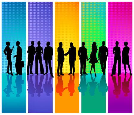 mensen uit het bedrijfsleven gekleurde achtergrond