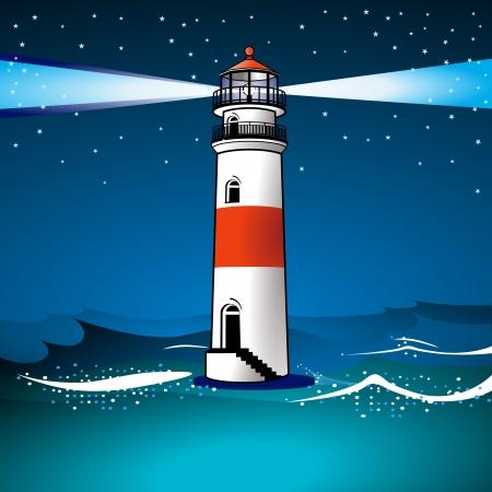 lighthouse at night: Casa de luz y twilight Vectores