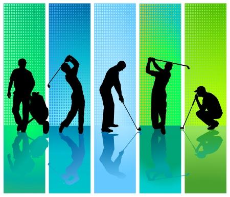 fünf Golfspieler