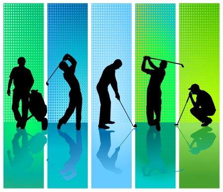 playing golf: five golf player