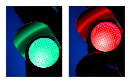 traffic control: verde y roja de se�al de control de tr�fico Vectores