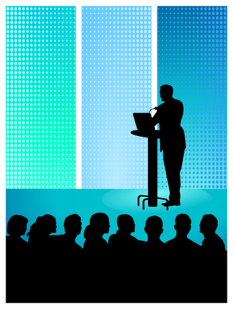 to give a speech Stock Vector - 8676523