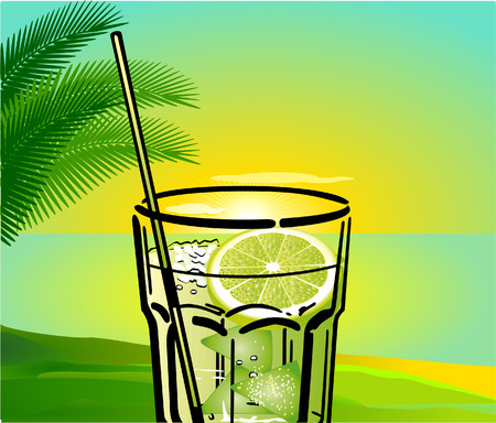 palmtree: Caipirinha Cocktail with background Illustration