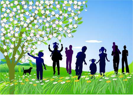 ausflug: Familie zum Anordnen von eines Ausflugs Illustration