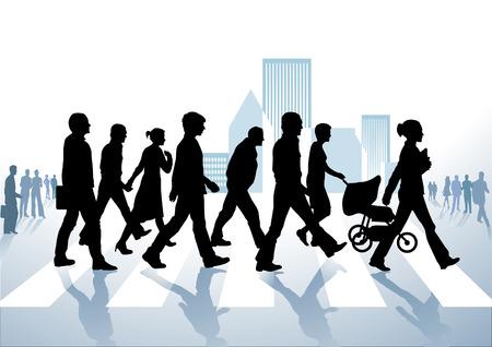 paso de cebra: peatones en la ciudad