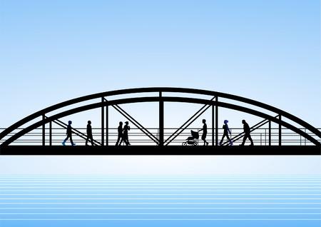 connecting: bridge Illustration