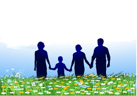 familia parque: familia en campos de flor