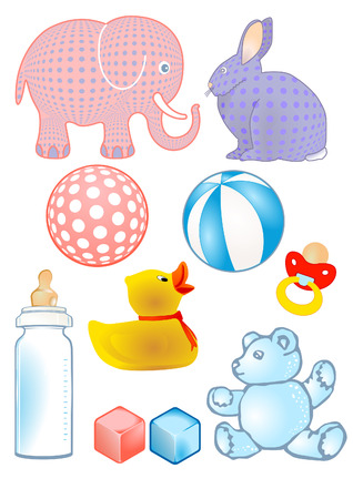Baby toys and baby bottle Stock Vector - 8753016