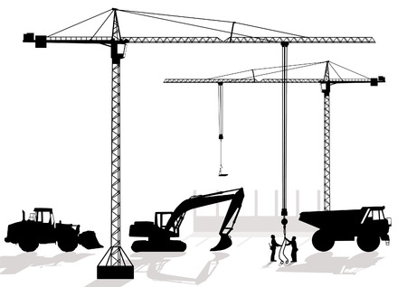 cement truck: of work at building site Illustration