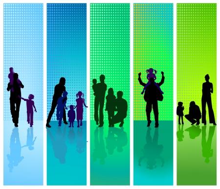 lifestyle family: familias sobre fondo azul y verde