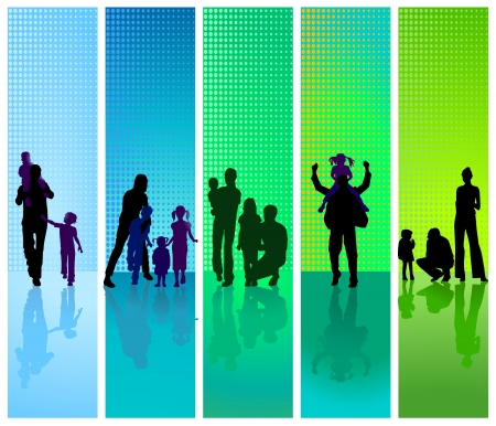 family trip: families on blue and green background