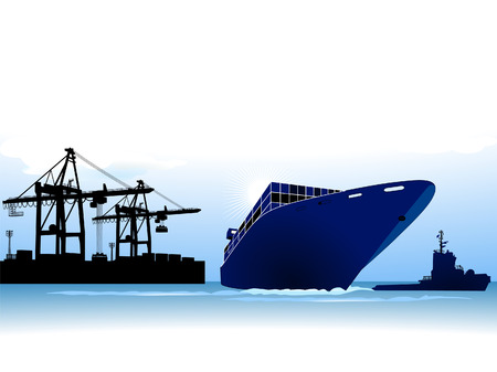 container ship to call at a port Stock Vector - 8753014