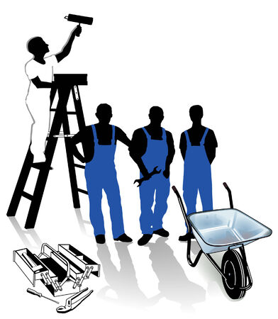 construction team: builder, painter and blue-collar worker Illustration