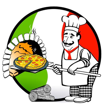 cocinero italiano: Pizza-italiano Vectores