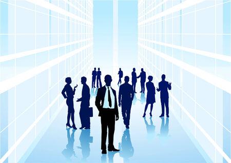 business discussion: personas con antecedentes de ciudad Vectores