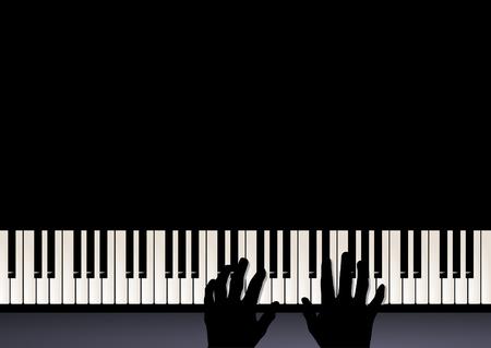 piano: piano jugar, dos manos tocando m�sica Vectores