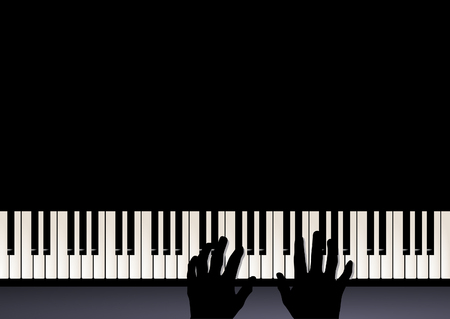 keyboard music: piano play, two hands playing music
