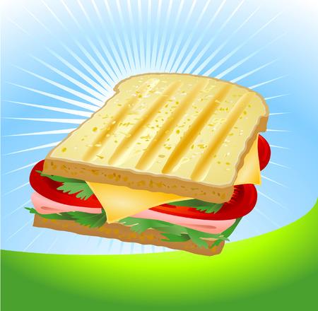 salumi affettati: Un panino al prosciutto e formaggio Vettoriali
