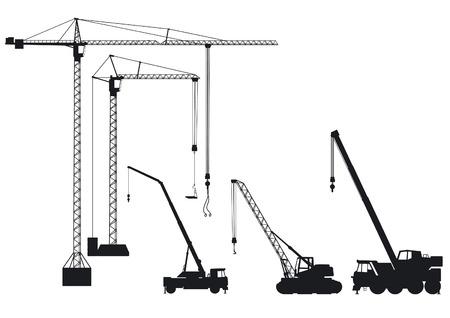 camión grúa y grúa de torre Ilustración de vector