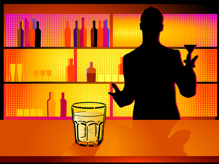 nightclub and barman Vector