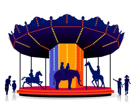 children carrousel Vector