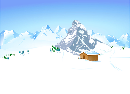 refuge: winter landscape with mountain shelter