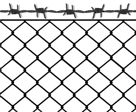 barbed wire fence: to put up a fence Illustration
