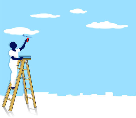 blue roller: to paint clouds Illustration